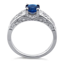 Load image into Gallery viewer, Sterling Silver Blue Spinel Round Cut Engagement CZ Ring