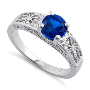 Sterling Silver Blue Spinel Round Cut Engagement CZ Ring