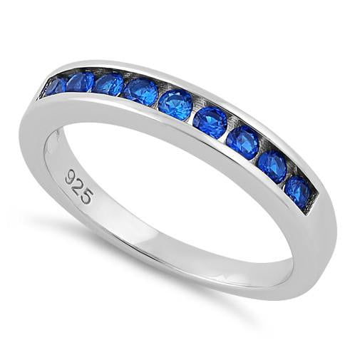 Sterling Silver Blue Spinel CZ Band Ring