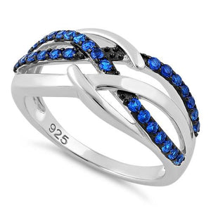 Sterling Silver Blue Spinel Free Form Cut CZ Ring