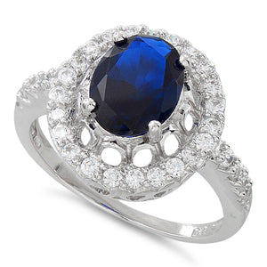 Sterling Silver Blue Sapphire Halo Oval Cut CZ Ring