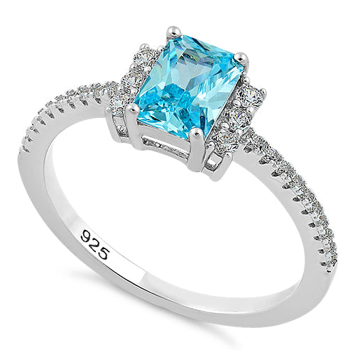 Sterling Silver Blue Topaz Rectangle CZ Ring