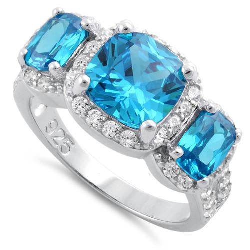 Sterling Silver Blue Topaz Three Stone Halo CZ Ring