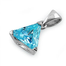 Load image into Gallery viewer, Sterling Silver Blue Topaz Triangle CZ Pendant