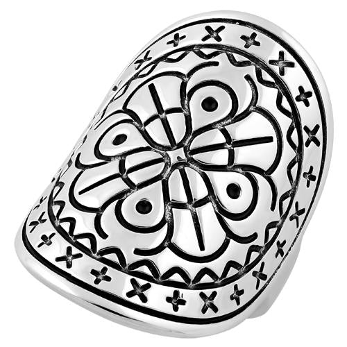 Sterling Silver Bohemian Shield Ring