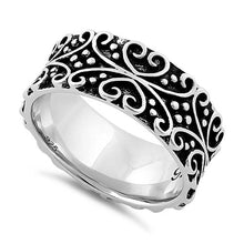 Load image into Gallery viewer, Sterling Silver Bold Curly Heart Eternity Ring