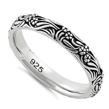 Load image into Gallery viewer, Sterling Silver Bold Flowers & Vines Eternity Ring
