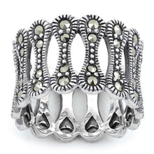 Load image into Gallery viewer, Sterling Silver Bone Eternity Marcasite Ring