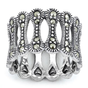 Sterling Silver Bone Eternity Marcasite Ring