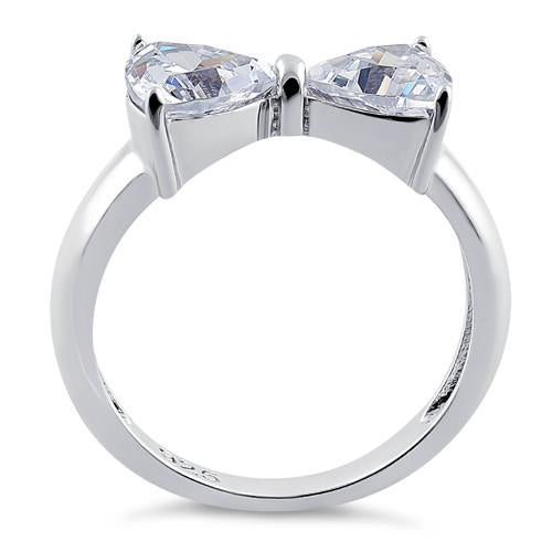 Prong Set Clear Cubic Zirconia Plain Bowtie Ring 925 Sterling Silver