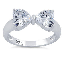 Load image into Gallery viewer, Sterling Silver Bow Heart Cut Clear CZ Ring