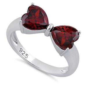 Sterling Silver Bow Heart Cut Garnet CZ Ring