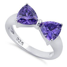 Load image into Gallery viewer, Sterling Silver Bow Trillion Cut Amethyst CZ Ring