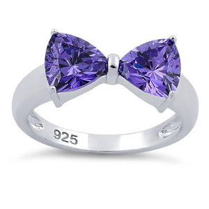Sterling Silver Bow Trillion Cut Amethyst CZ Ring
