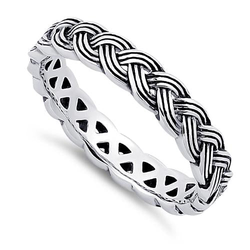 Sterling Silver Braid Eternity Band
