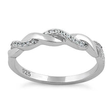 Load image into Gallery viewer, Sterling Silver Braided Clear CZ Ring
