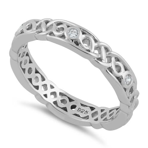 Sterling Silver Braided Eternity Clear CZ Ring