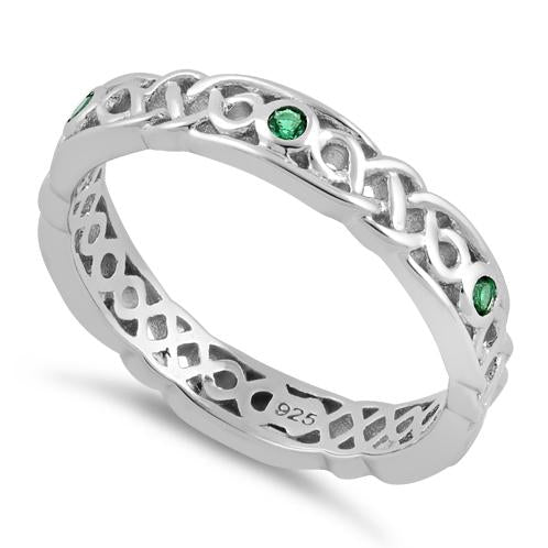 Sterling Silver Braided Eternity Green CZ Ring