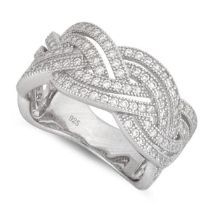 Sterling Silver Braided Pave CZ Ring