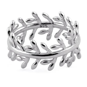 Sterling Silver Branches and Leaves Eternity Ring