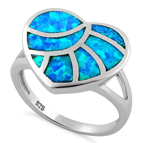 Sterling Silver Heart Lab Opal Ring