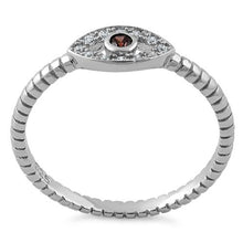 Load image into Gallery viewer, Sterling Silver Brown Stone Evil Eye CZ Ring