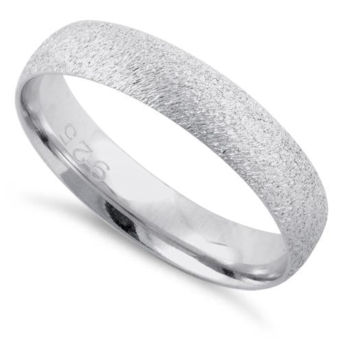 Sterling Silver Brushed Wedding Band Ring 4mm