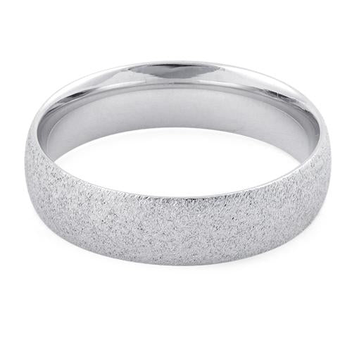 Sterling Silver Brushed Wedding Band Ring 5mm