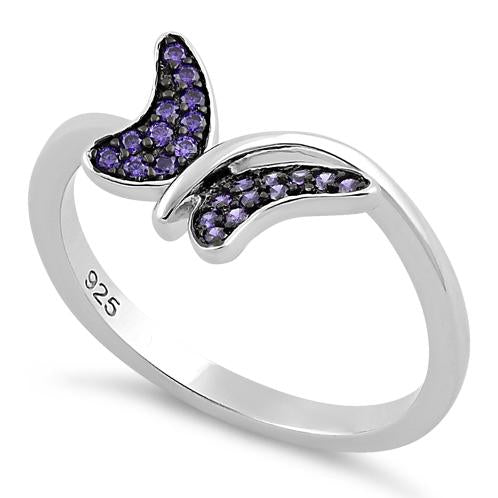 Sterling Silver Buttefly Amethyst CZ Ring