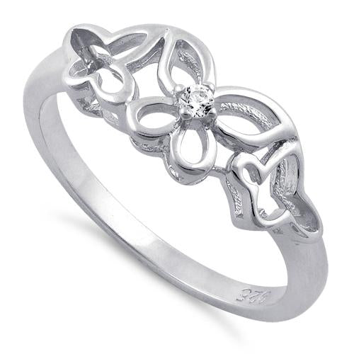 Sterling Silver Butterflies Clear CZ Ring