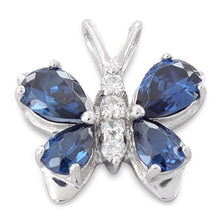 Load image into Gallery viewer, Sterling Silver Butterfly Blue CZ Pendant