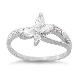 Sterling Silver Butterfly Clear CZ Ring