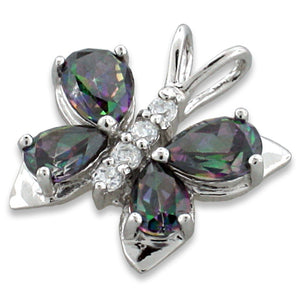 Sterling Silver Butterfly CZ Cubic Zirconia Pendant
