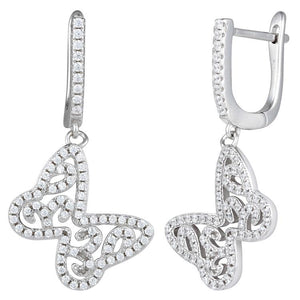 Sterling Silver Butterfly CZ Dangle Earrings
