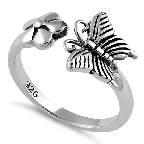 Sterling Silver Butterfly Flower Ring