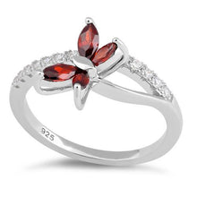 Load image into Gallery viewer, Sterling Silver Butterfly Garnet CZ Ring
