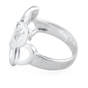 Sterling Silver Butterfly Heart Ring