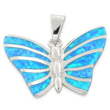 Load image into Gallery viewer, Sterling Silver Butterfly Lab Opal Pendant