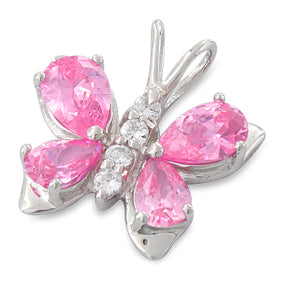 Sterling Silver Butterfly Pink CZ Pendant