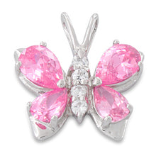 Load image into Gallery viewer, Sterling Silver Butterfly Pink CZ Pendant