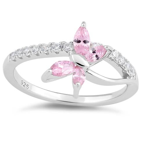 Sterling Silver Butterfly Pink CZ Ring