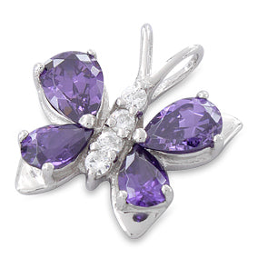 Sterling Silver Butterfly Purple CZ Pendant