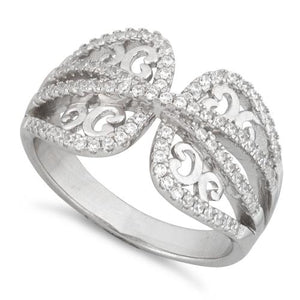 Sterling Silver Butterfly Wings Pave CZ Ring