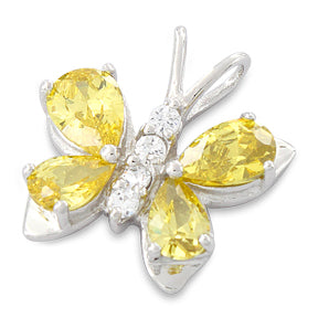 Sterling Silver Butterfly Yellow CZ Pendant