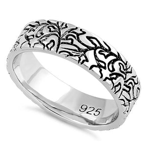 Sterling Silver Carved Leaves Band Ring