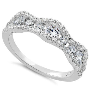 Sterling Silver Cascading Wave Round Cut Clear CZ Ring