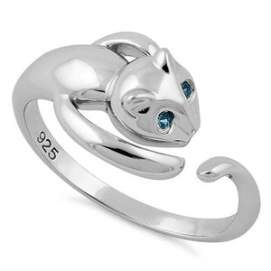 Sterling Silver Cat Aqua Blue CZ Ring