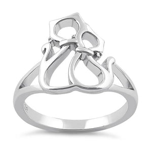 Sterling Silver Cat Couple Ring