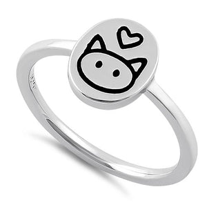 Sterling Silver Cat Love Ring