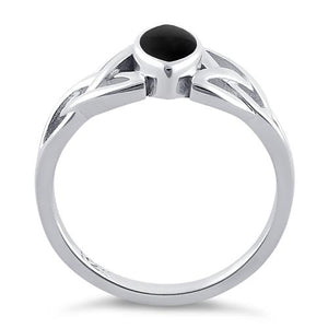 Sterling Silver Celtic Synthetic Onyx Ring